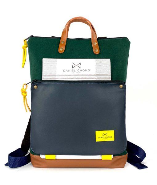 backpack Book Holder blue green brown daniel chong